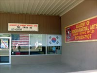 Store front view of the Academy of Korean Martial Arts